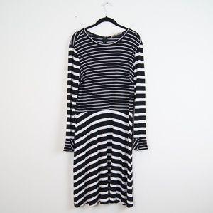 LOFT   Black and White Bell Sleeve Dress